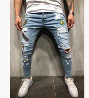 Мужские джинсы скинни Повседневная тонкий велосипед джинсовые коленные колена Hiphop разорванные брюки промывают высокое качество моды несколько вариантов