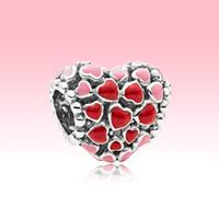 Pulsera de brazalete de encanto de corazones rojos y rosados DIY haciendo accesorios con caja original para Pandora 925 Joyería de plata esterlina Charms