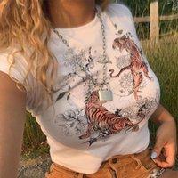 Frauen T-Shirt Lusofie Sommer 2021 Tops Casual Slim Fit Tiger Gedruckt Mode High Street Rundhals Kurzarm Basic