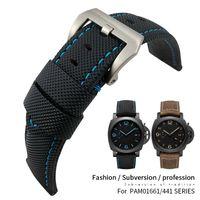 Pelle 24 millimetri superiore Nylon Canvas Cinturino per Pam cinturino pam01661 / 00441/1312/111 polso Accessori della fascia del braccialetto 22 millimetri Pin fibbia