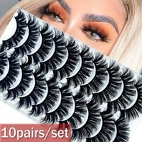10 paires 3D main Mink Faux Cils Wispy Croix Fluffy Outils multicouches Maquillage Extension cils