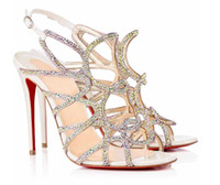 Abiti di lusso del progettista signore Estate Red sandali inferiori donna in pelle glitter Crisscross Strap Sandals Argento festa di nozze Sandalo