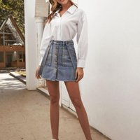Fashion Women Buttons Pockets Cowboy Casual Skirt Rompers Evening Party Short Skirts Summer Elegant Retro Beach Skirts#T2