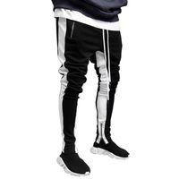 Erkek Koşucular Günlük Pantolon Spor Erkek Spor İpli Bottoms Yan Çizgili Skinny Sweatpants Spor Salonları Jogger Fermuar Pantolon