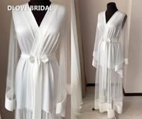 Sexy até o chão Brasão nupcial Manhã Robe Pijamas Dot Lace alargamento mangas Nighty vestido Bath Robes noiva de alta qualidade Custom Made