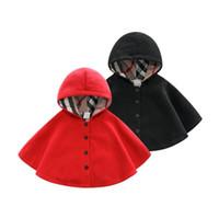 Çocuk Pelerin Dış Giyim Bebek Kapşonlu Tüm Maç Kız Erkek Ceket Pelerin Bayan Kırmızı Siyah Çocuk Şal Sonbahar Kış Coat