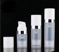 Bouteilles sans air de 5 ml de 5ml de 10 ml 15 ml de la bouteille de lotion de pompe à vide sans air avec une ligne d'argent Emballage cosmétique SN1306