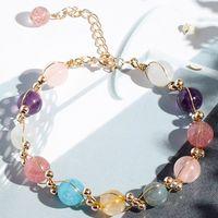Naturaleza piedra cristal pulseras fresa cristal rosa rosa cuarzo amatista aguamarina blanco curación pulsera mujer accesorios de moda