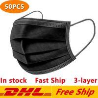 Einweg schwarze Gesichtsmasken 3-Schicht-Schutz-Maske mit Earloop Mund Gesicht Sanitary Außen Masken DHL-freien Verschiffen