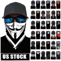 Máscaras de EE.UU. Cráneo de la magia turbante Pañuelos cara del cráneo esquelético de deportes al aire libre del fantasma Pañuelos diadema de ciclo de la motocicleta Wrap FY7139
