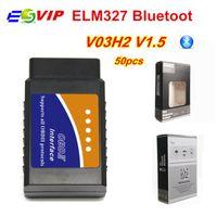 50pcs DHL ELM327 Bluetooth v1.5 V03H2 Auto Diagnose Scanner Tool OBD-Systeme OBDII Ulme 327 Bluetooth Diagnoseschnittstelle