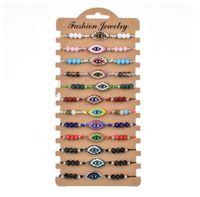 12 pc / incanta il braccialetto dello smalto di modo di Fatima a mano braccialetti registrabili delle donne degli uomini Evil Eye Beads cristallo Amicizia Gioielli GD412