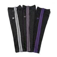 Casual Streetwear AWGE İğneler Sweatpants Kadın Erkek Çizgili Fermuar AWGE Pantolon Kelebek Nakış Koşucular İğneler Trousers1
