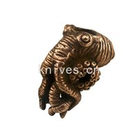 Metalfable Paracord Bead Cthulhu Octopus Bronze Charms EDC Accessories for Pendant Buckle,Keychain Pendant,Knife Lanyard,Zipper Pull