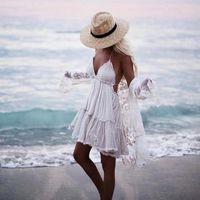 Verão Boho Beach Vestido XS Mulheres 2020 Chic Strapless Sexy Rendas Vestidos De Ball Vestido Hippie Bohemian Plus Size Vestido Rode Vestido