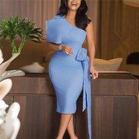 Mulheres BODYCON Vestidos de um ombro com Bowtie cintura Luz Belt Vestido Azul Africano evento elegante Magro Vestido Celebre Ocasião