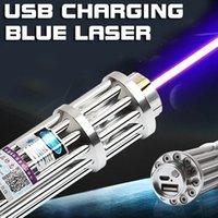 مؤشر الانقاذ FOXLASERS الأزرق مصباح يدوي ليزر USB شحن الليزر 450nm في الهواء الطلق مؤشر ليزر طويل المدى 5000M طويلة المدى مصابيح في الهواء الطلق غيار