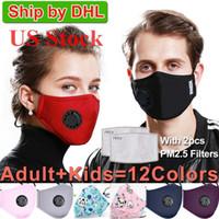 US estoque! Lavável Máscara Facial Máscaras anti-poeira reutilizável PM2.5 com 2 Filtro Válvula de algodão de protecção das crianças das crianças da cara Máscaras de pano laváveis