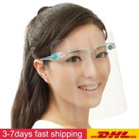 50 unids Cara transparente Mascarilla CHILED PVC con gafas Mascarilla de cristal Clear Visor Anti óleo Splash Prevención de la contaminación a prueba de viento FY8038