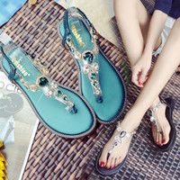 Nice Quality Fashion Pearls Crystal Flowers Women Slippers Summer Beach Slippers Flip Flops Sandals Ladies Flats Shoes