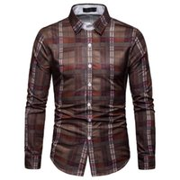 Men's Casual Shirts Mens Plaid Long Sleeve Slim Fit Fashion Business Dress Male Camisas Masculina 2021 Chemise Homme 5