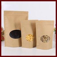 13 * 20 + 4 20pcs hediyeler tatlılar ve şeker gıda çay takı perakende paket kağıdı için pencere ile kahverengi öz zip kilit kraft kağıt torbalar