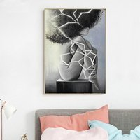 Abstract Black and White Nude Woman Wall Art Canvas Painting...
