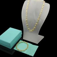 Europa américa moda jóias conjuntos homens senhora mulheres gravadas t iniciantes de u-forma corrente grossa colar bracelete conjuntos 3 cor