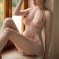 메쉬 레이스 등이없는 여성 잠옷 짧은 드레스 어린 소녀 새로운 란제리를 통해 섹시한 속옷 작은 공주 나이트 가운 참조