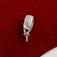 Pearl Bail Charm Ciondolo argento 925 zircone connettore Monili risultati di DIY per Pearl partito