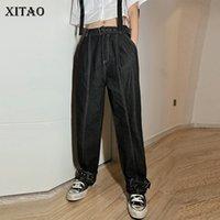 Xitao vita alta Pocket Pantaloni neri dei vestiti delle donne 2020 autunno Open Line Partita tutte le personalità casuale allentata Cargo Pants ZP1434