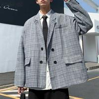 Abiti da uomo Blazer Blazers Uomo Primavera Doppio Bresed Plaid Loose Retro Teens Moda Tempo libero Stile Coreano All-match Mens Streetwear Streetwear Semplice
