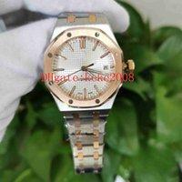 Moda saatı N8 fabrika Royal Oak 15450SR.OO.1256SR.01 15450 37mm İki ton Mekanik Şeffaf Otomatik Bayanlar Kadın Saatleri