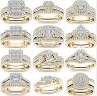 Karışık Zirkon Beyaz Yuvarlak Yüzük Seti Marka Lüks Promise Gümüş Nişan Yüzüğü Vintage Gelin Alyans Kadın Için