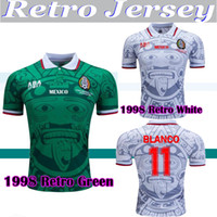 1998 المكسيك الرجعية خمر بلانكو تايلاند الجودة 98 هيرنانديز كرة القدم الفانيلة زي كرة القدم الفانيلة قميص التطريز camiseta فوتبول