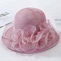PLOERMIN organza soleil femmes fleur de mariage d'été Caps Femme élégante église UV Floral Chapeaux 2019 New Y200716 Mode