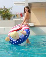 US Stock 2020 Election Trump Bouée gonflable Flotteurs Thicken Cercle Drapeau Bouée Float pour adultes Summer Pool Party DHL Expédition