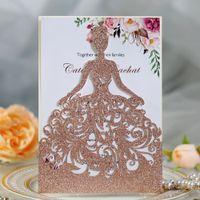 Tarjetas de invitación de recorte de láser imprimibles de oro rosado para quinceañera 30+ Color Princess Sweet Quince Invitaciones de la cena Invitaciones