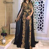 Черный шифон Марокканский Кафтан Золото кружева аппликациями куртки Вечерние платья Длинные мусульманская Саудовская Arabic Специальный случай Платье партии