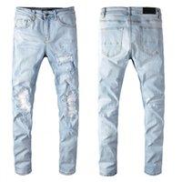 2021SS Высококачественные мужские джинсы дизайнерские мотоциклетные байкер джинсы рок тощая тонкая нога разорванное колено колено на молнии известные бренд джинсовые брюки размер 29-40