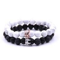 Crystal Crown Lave Rock Weiß Howlite Naturstein Stränge Armband Perlen Modeschmuck Für Frauen Männer Willen und Sandy
