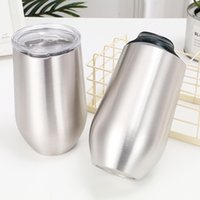 16oz Egg Shaped Mugs Stainless Steel Stemless Water Bottles Double Wall Vacuum Insulated Outdoor Sports Beer Mug