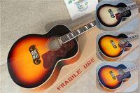 Custom 43 inch akoestische elektrische gitaar, sunburst gitaar, holle sj200 gitaar, esdoorn lichaam, mahoniehals, gouden hardware