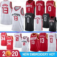 Russell Westbrook 0 2020 New Jersey James Harden 13 NCAA Jerseys Hakeem Olajuwon 34 7 Anthony Basketball Maillots Cousu hommes