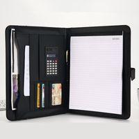 A4 File Organizer Portfolio Carpeta Bolsas de documentos PU Cuero Notepad Multifunción Titular de la tarjeta Pluma Clip Calculator Memo T200727