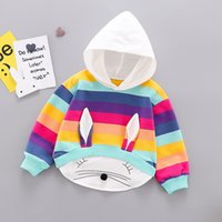 Mädchen Designer Fashion Hoodies 2020 Explosion Kinder Rabbit Ears Sweatshirts Kinder Stripe Splicing Hoodies Kleidung