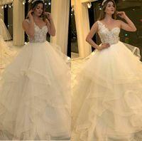 Sexy de un hombro Sleeveles una línea boda Dressess balón vestido de volantes barrer de tren apliques de encaje 2020 más el tamaño de vestido de novia Vestidos de noviembre