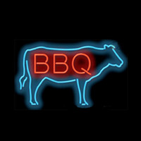 BBQ Beef Cow Cook Out Roast Neon Sign Custom Handmade Real G...