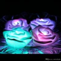 أضواء يتوهم الملونة تغيير الصمام وردة زهرة رومانسية حفل زفاف الديكور مصباح شمعة إصنع أضواء الرغبات ارتفع ضوء الليل أدى