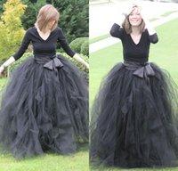 2020 schwarze elegante lange Hülsen-Abend-Kleider Tulle mit Schärpe formales Partei-Abschlussball-Kleider nach Maß